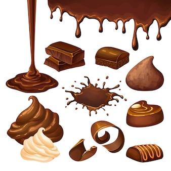 Conjunto de elementos de chocolate desenho animado
