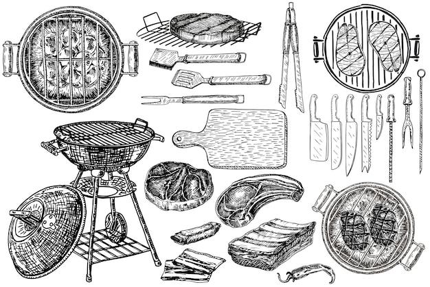 Conjunto de elementos de churrasco. desenho gravado.