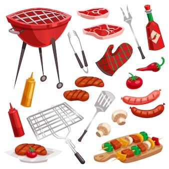 Conjunto de elementos de churrasqueira