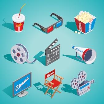 Conjunto de elementos de cinema isométrico