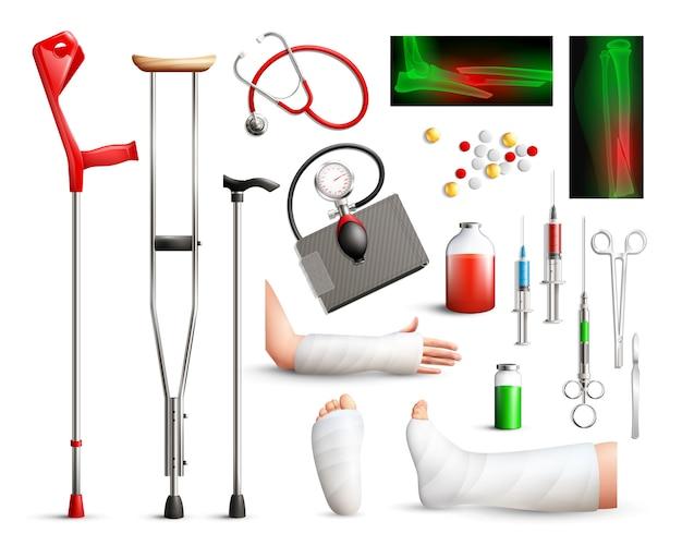 Conjunto de elementos de cirurgia de trauma realista