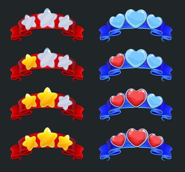 Conjunto de elementos de classificação de jogo de desenho animado