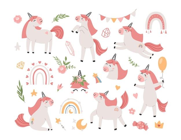 Conjunto de elementos de clipart de crianças de festa de unicórnio rosa isolados