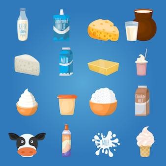 Conjunto de elementos de comida de leite