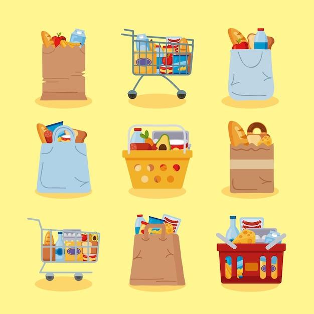 Conjunto de elementos de compras de supermercado
