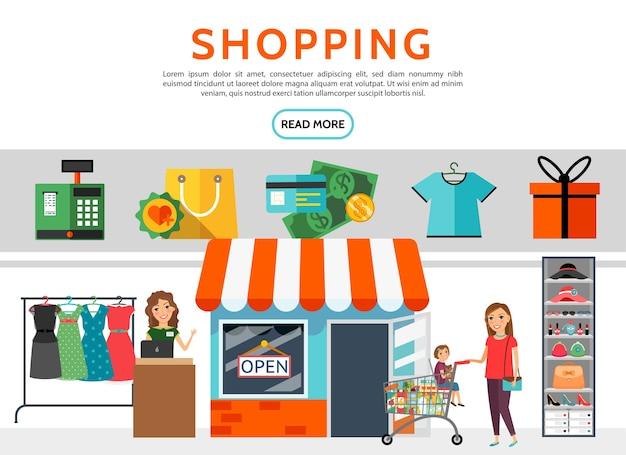 Conjunto de elementos de compras planas