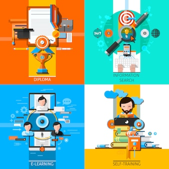 Conjunto de elementos de conceito de educação on-line