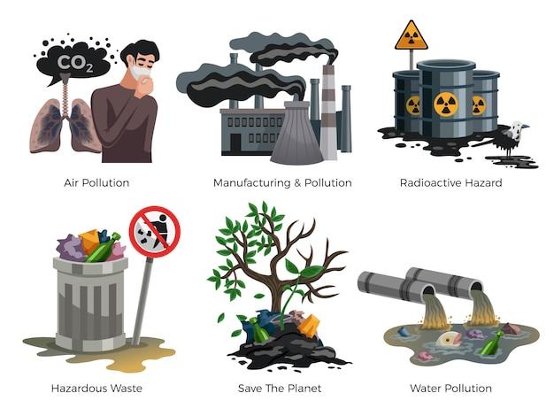 Conjunto de elementos de conscientização de poluição