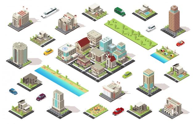 Conjunto de elementos de construtor de cidade isométrica