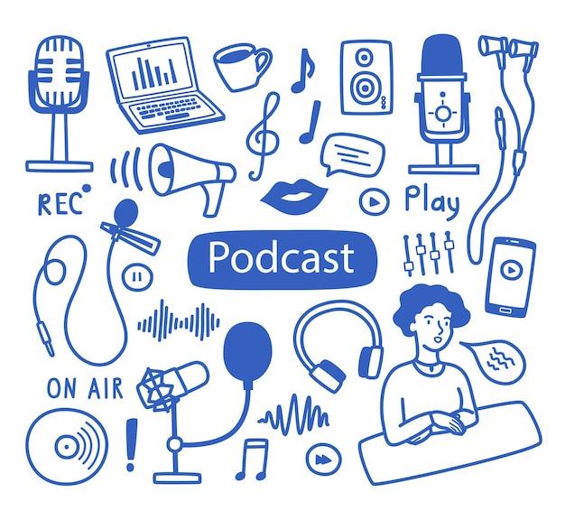 Conjunto de elementos de contorno e rótulos sobre o tema da gravação de podcasts de vários microfones de um laptop