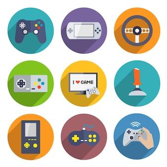 Conjunto de elementos de controlador de jogos de vídeo