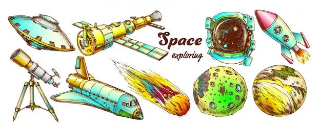 Conjunto de elementos de cores explorando o espaço
