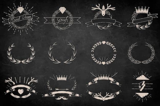 Conjunto de elementos de coroa de louros desenhada à mão