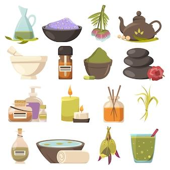 Conjunto de elementos de cosmetologia natural