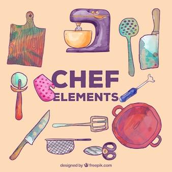 Conjunto de elementos de cozinha aquarela