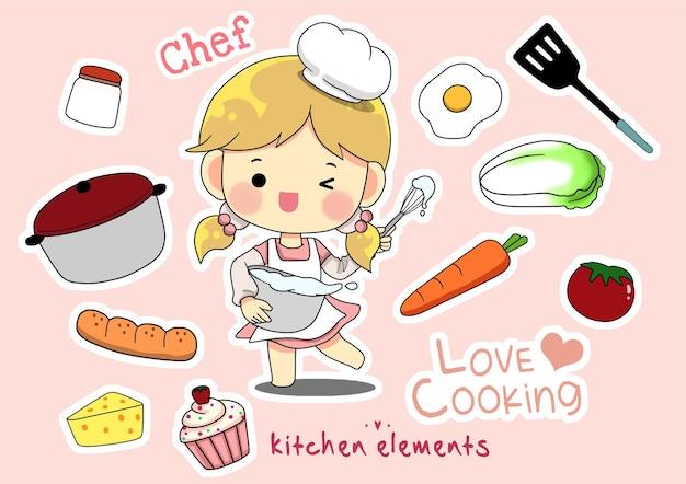 Conjunto de elementos de cozinha de garota fofa