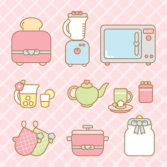 Conjunto de elementos de cozinha kawaii