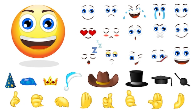 Conjunto de elementos de criação de emoções de desenho animado