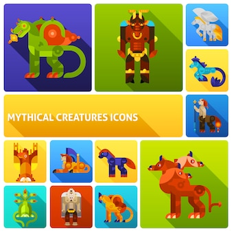 Conjunto de elementos de criaturas míticas
