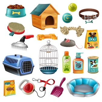 Conjunto de elementos de cuidados de animais de estimação