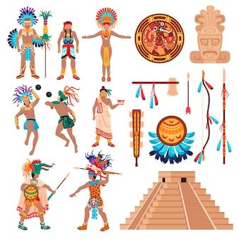 Conjunto de elementos de cultura maia