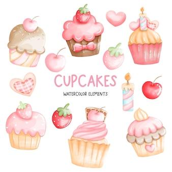 Conjunto de elementos de cupcakes em aquarela