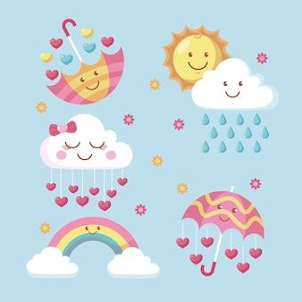 Conjunto de elementos de decoração cartoon chuva de amor