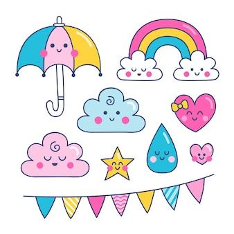 Conjunto de elementos de decoração chuva de amor desenhado à mão