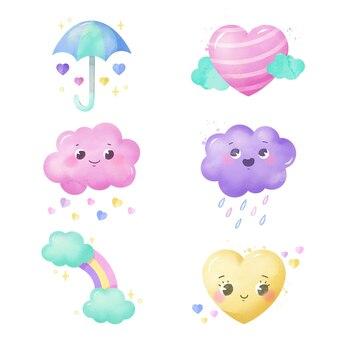Conjunto de elementos de decoração chuva de amor