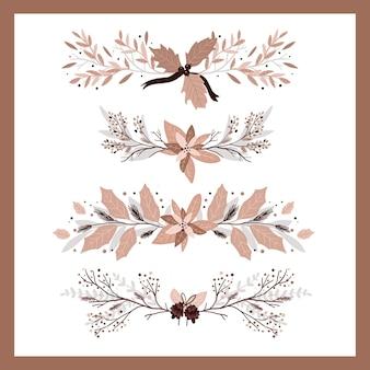 Conjunto de elementos de decoração de plantas de natal para design de redemoinhos de jornal bullet