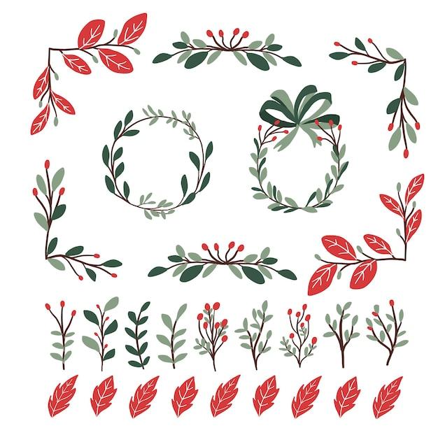 Conjunto de elementos de decoração de plantas de natal para redemoinhos de bullet journal