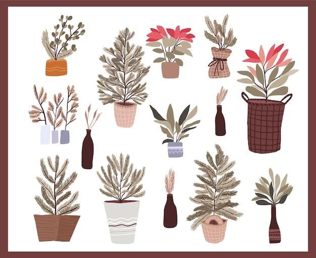 Conjunto de elementos de decoração de plantas de natal para redemoinhos de diário