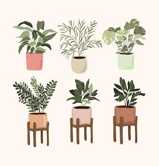 Conjunto de elementos de decoração de plantas em vasos de interior adesivo polegar verde para diário de bala