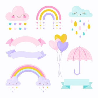 Conjunto de elementos de decoração flat chuva de amor