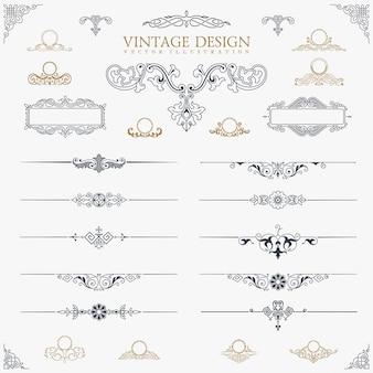Conjunto de elementos de decoração vintage