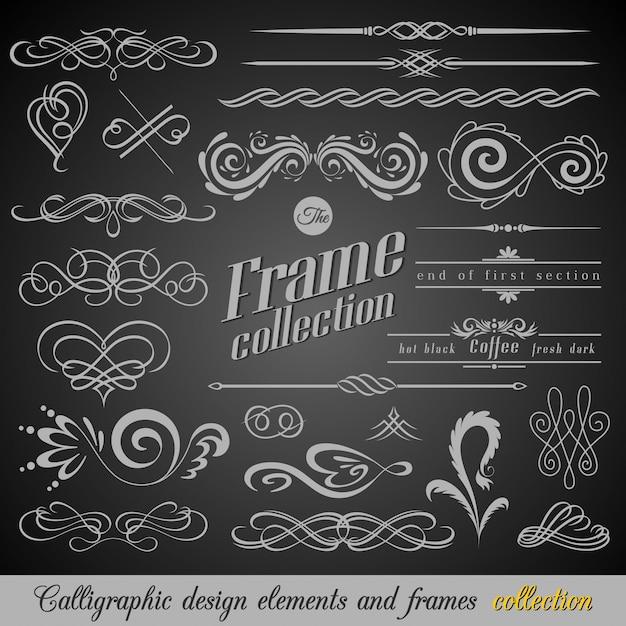 Conjunto de elementos de decorações de página vintage
