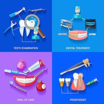 Conjunto de elementos de dentista plana
