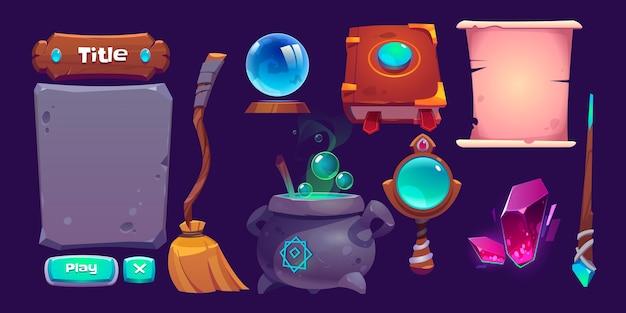 Conjunto de elementos de desenho animado da interface do jogo mágico