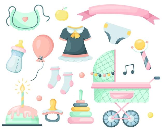 Conjunto de elementos de desenho animado para um bebê recém-nascido.