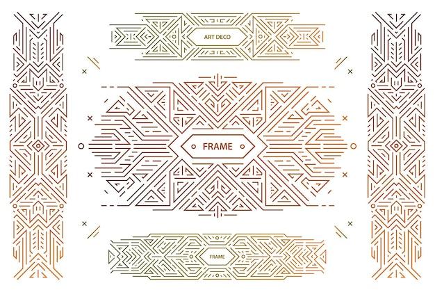 Conjunto de elementos de desenho geométrico abstrato, decorações luxuosas em artdeco vintage