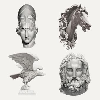 Conjunto de elementos de desenho vetorial de esculturas antigas, remixado de uma coleção de domínio público