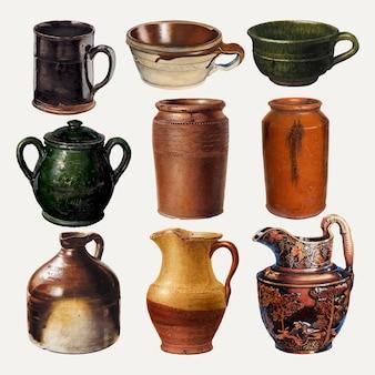Conjunto de elementos de desenho vetorial de jarras e canecas de cerâmica, remixado de uma coleção de domínio público