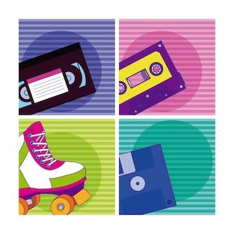 Conjunto de elementos de desenhos animados dos anos 90