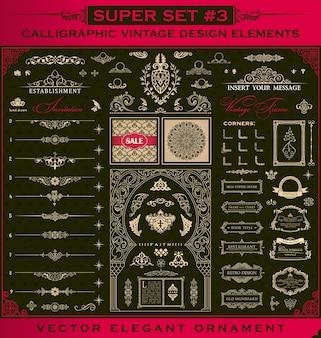 Conjunto de elementos de design caligráfico, molduras de borda e decoração vintage
