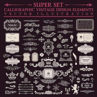 Conjunto de elementos de design caligráfico vintage barroco