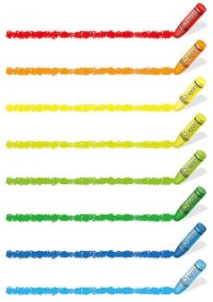 Conjunto de elementos de design colorido crayon isolado. ilustração vetorial
