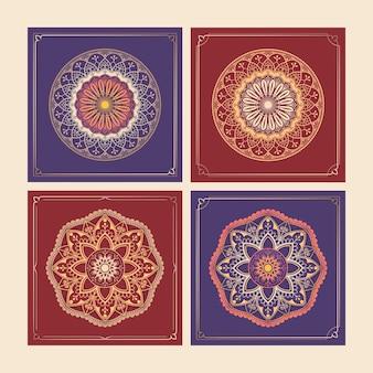 Conjunto de elementos de design com padrão de arabescos dourados