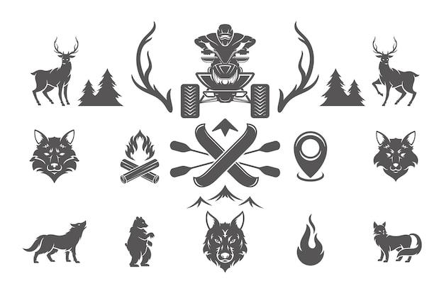 Conjunto de elementos de design de acampamento de verão e aventuras ao ar livre