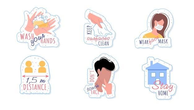 Conjunto de elementos de design de adesivos de higiene para prevenção de doenças por coronavírus com lave as mãos, mantenha a superfície limpa, use máscara facial, distanciamento, rosto sem toque, frase de promoção para ficar em casa