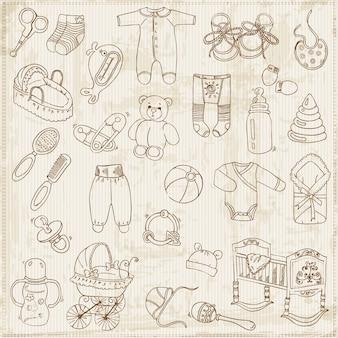 Conjunto de elementos de design de álbum de recortes para bebê